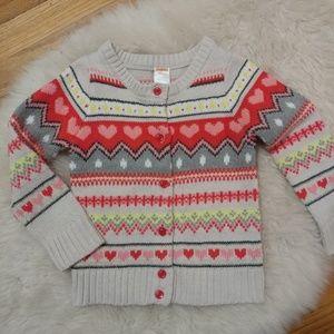 Gymboree heart pattern fair isle cardigan